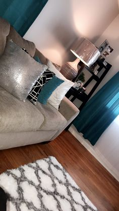 Teal gray living room