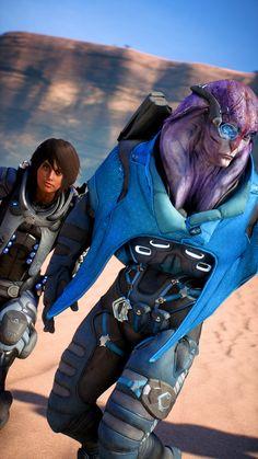 Jaal Ama Darav and a custom Ryder Jaal Mass Effect, Dragon Age, Boyfriends, Gaming, Romance, Cat, Life, Beautiful, Romance Film