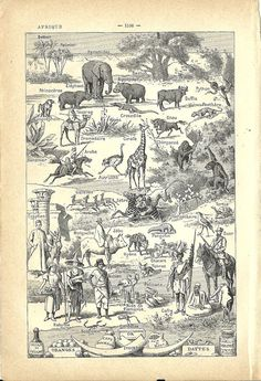 1930s  Native africans and animals MAP of AFRICA by FolieduJour, $5.00