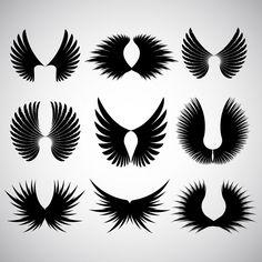 翼silhoeuttesの様々な異なるデザイン 無料ベクター