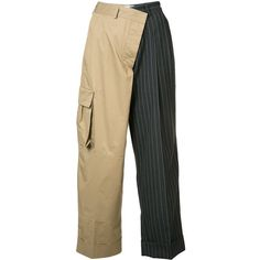 Monse Pinstripe Cargo Trousers (4.195 BRL) ❤ liked on Polyvore featuring pants, kirna zabete, kzloves /, stripe shop, loose fitting pants, striped trousers, cargo pants, loose fit cargo pants and loose pants