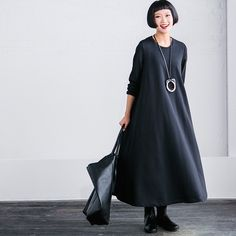 Black Maxi Size Casual Loose Long Dresses Women Clothes Q2627A Clothes will not shrink,loose Cotton fabric, soft to the touch. !!!!!Care: hand wash or machine wash gentle, best to lay flat to dry. *Ma