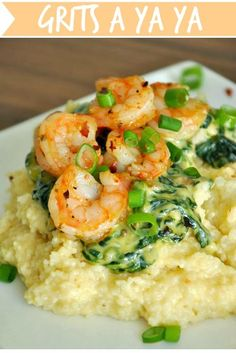 Shrimp and Grits a Ya Ya :: tasty gouda grits topped with a creamy spinach sauce and fresh shrimp - this restaurant copycat has it all!