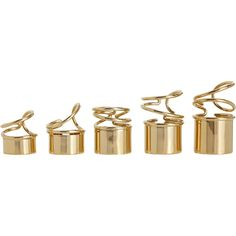 Balenciaga Golden Thick Tube Ring Set ($765) ❤ liked on Polyvore featuring jewelry, rings, accessories, fillers, balenciaga, polish jewelry, balenciaga jewelry, golden jewelry and golden ring