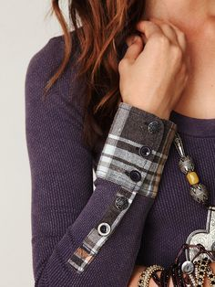 Free People We The Free Lou Flannel Cuff Thermal at Free People Clothing Boutique