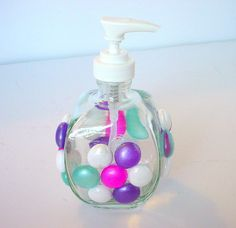 Beaded Soap Pump Glass Soap Dispenser Lotion by BuzyBeeBlooms, $12.00