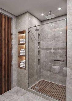 Idias do banheiro com chuveiro - Bathroom remodel master - Bathroom Design Luxury, Modern Bathroom Design, Washroom Design, Toilet And Bathroom Design, Toilet Design, Design Kitchen, Bathroom Renos, Bathroom Small, Small Bathroom Designs
