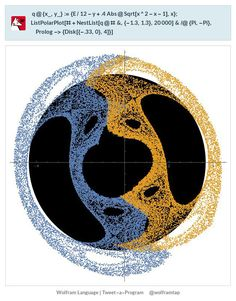 q@{x_,y_}:={E/12-y+.4Abs@Sqrt[x^2-x-1],x};ListPolarPlot[#+NestList[q@#&,{-1.3,1.3},20000]&/@{Pi,-Pi},Prolog->{Disk[{-.33,0},4]}]