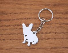 French Bulldog - Metal Keychain - Valentine's Day Gift
