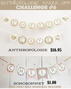 DIY Banner Letters Free Printable Alphabet -Anthropologie Knock Off - SohoSonnet Creative Living