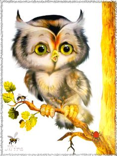 cute little owl Art Mignon, Paper Owls, Owl Cartoon, Owl Pictures, Owl Always Love You, Beautiful Owl, Owl Crafts, Wise Owl, Animation