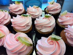 Sparkly Pink and green cupcakes from The Cupcakery