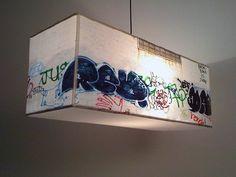DEKALB / BLOCK-LIGHT rectangular pendant lamp- (to DIY, could I order canvas' of graffiti prints, remove the wood and make the pendant? Graffiti Furniture, Graffiti Bedroom, Funky Furniture, Graffiti Font, Graffiti Prints, 3d Canvas Art, Supermarket, Diy Light Fixtures, Light Crafts