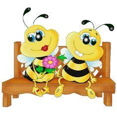 Valentine Love Bees - Honey Bee Free Images