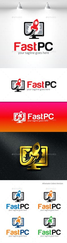 Fast PC computer logo — Vector EPS #build #mobile • Available here → https://graphicriver.net/item/fast-pc-computer-logo/11406617?ref=pxcr