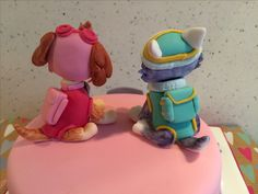 Girly Paw Patrol Skye & Everest cake toppers back view.