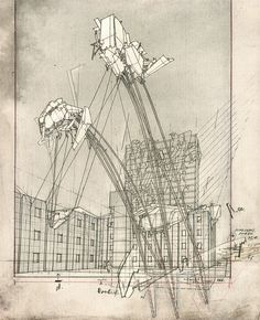 Architecture Drawings / Sketches / Architect : Lebbeus Woods - New Sites Wood Architecture, Architecture Graphics, Architecture Drawings, Concept Architecture, Classical Architecture, Historical Architecture, Lebbeus Woods, Zaha Hadid Architects, Steven Holl