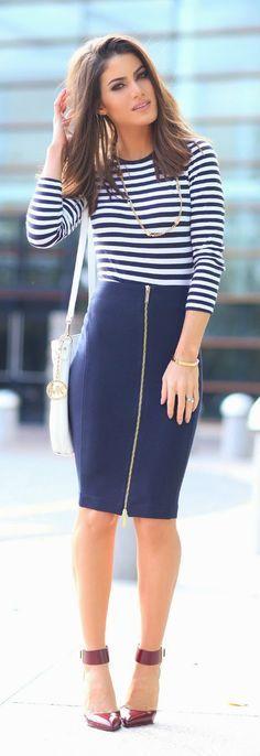 Stripes & Navy Zip Skirt # Chic