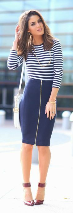 Stripes & Navy Zip Skirt # Chic