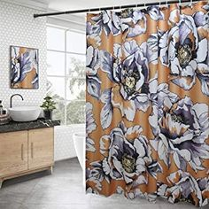 floral shower curtain: Home & Kitchen Colorful Shower Curtain, Ruffle Shower Curtains, Shower Curtain Sets, Bathroom Shower Curtains, Bathroom Decor Sets, Boho Bathroom, Shower Cutains, Beautiful Curtains
