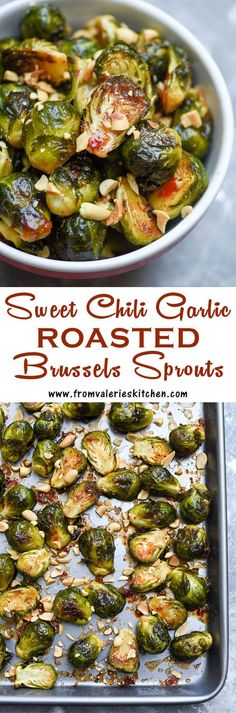 These Sweet Chili Garlic Roasted Brussels Sprouts are a unique and seriously delicious way to prepare this fall and winter vegetable. Best Side Dishes, Veggie Side Dishes, Vegetable Sides, Side Dish Recipes, Vegetable Recipes, Vegetable Dish, Winter Vegetables, Roasted Vegetables, Veggies