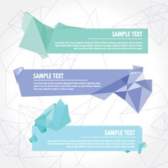 Crystallized Banners Vector Graphic — advertising, crystalized, promotion, geometric, triangle, features, message, crystal, modern, angle
