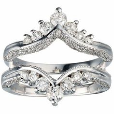 Diamond Ring Enhancer Wrap Guard Mounted in 14k White Gold For Cushion Solitaire