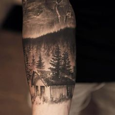 Forest hut sleeve tattoo