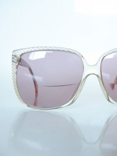 Vintage Renato Balestra Sunglasses 1970s Oversized Glasses Champagne White Clear 70s Huge Square Lines Womens Ladies Sun