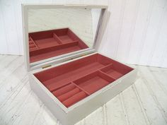 Vintage Wooden Jewelry Box Padded Tapestry Lid  by DivineOrders, $38.00