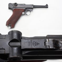 "Kreighoff Luger Pistol - Seventy years ago, our GOTD was one of the rarer 9mm toggle-lock handguns in German military service. Suhl was the location of the Kreighoff factory, where about 11,000 P.08 pistols were made for the Luftwaffe and a couple of thousand more were built up from rejected parts for the commercial market. Today, collectors chase these Kreighoff Lugers when they surface as veteran's ""bring-backs"" from the Second World War. NRA National Firearms Museum in Fairfax, VA."