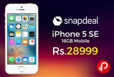 Snapdeal is offering 26% off on #iPhone5SE #16GB #Mobile Just at Rs.28999. Extra 10% Discount Using SBI Credit & Debit Cards. LED-backlit, 16M Colors, Capacitive Touchscreen. Live Photos, Autofocus with Focus Pixels, True Tone flash, Panorama, Auto HDR, Exposure control, Burst mode, Timer mode, Auto image stabilisation, Face detection, Photo geotagging.  http://www.paisebachaoindia.com/iphone-5-se-16gb-mobile-just-at-rs-28999-snapdeal/