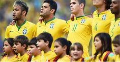 Neymar, Hulk, Oscar David Luiz and Fernandinho of Brazil sing the National Anthem Friday, 4 July 2014 FORTALEZA, BRAZIL - JULY 04: (L-R) Neymar, Hulk, Oscar David Luiz and Fernandinho of Brazil sing the National Anthem prior to the 2014 FIFA World Cup Brazil Quarter Final match between Brazil and Colombia at Castelao on July 4, 2014 in Fortaleza, Brazil.