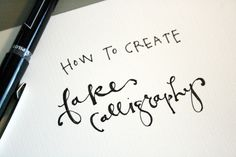 To give your letter the calligraphy look, you will need to make all of the down strokes thicker and filled in {as if you were writing with an angled calligraphy pen}. Every time your pen stroke goes downward, just draw a close line and fill it in.
