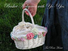 basket makeover with yo-yos