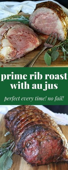 Prime Rib Roast with au jus. A fancy dinner for any special occasion. Especially for Christmas dinner . or New Year's Eve! dinner steak Prime Rib Roast Au Jus Perfect Every Time! No Fail Rib Recipes, Dinner Recipes, Cooking Recipes, Christmas Recipes Dinner Main Courses, Dinner Ideas, Bison Recipes, Grilled Recipes, Cooking Chef, Entree Recipes