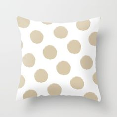 Polka Dots (Beige & White) Throw Pillow by vivogrande White Throw Pillows, Coastal Style, The Hamptons, Polka Dots, Vibrant, Cushions, Beige, Stone, Summer