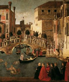 Gentile Bellini c. 1500 Miracle of the Cross at the Bridge of San Lorenzo (detail)