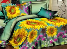 Bright Beautiful Yellow #Sunflowers Print 4-Piece Duvet Cover Sets #floralbedding #beddinginn