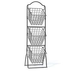 This Mikasa Gourmet Basics 3-tier wire market basket is crafted from high grade carbon structural steel for long lasting beauty even under rigorous use. The stacked design and angled baskets make for