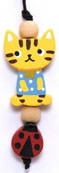little yellow cat wooden phone strap