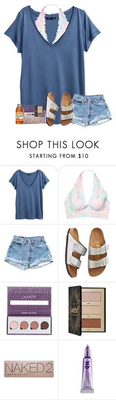 """STYLISHHHHHHH"" by amaya-leigh ❤ liked on Polyvore featuring H&M, Victoria's Secret, Birkenstock, ColourPop, Sephora Collection and Urban Decay"