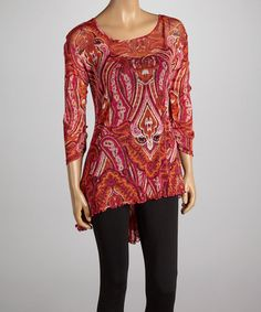 Another great find on #zulily! Pink & Orange Flourish Hi-Low Tunic by LV Collection #zulilyfinds