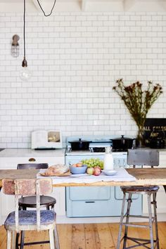 beautiful kitchen with blue vintage stove
