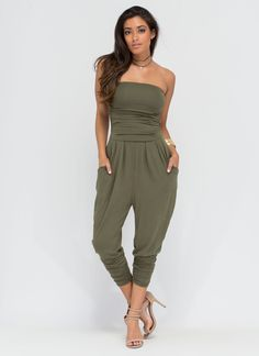 2922463a06b3 Go For It Strapless Harem Jumpsuit ROYAL BLUSH OLIVE - GoJane.com Black Strapless  Jumpsuit