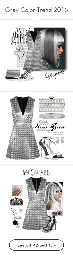 """Grey Color Trend 2016"" by yours-styling-best-friend ❤ liked on Polyvore featuring grey, Alice + Olivia, Tom Ford, GUESS by Marciano, Cartier, makefashioneasier, Topshop, WithChic, Jules Smith and IRO"