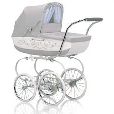 @rosenberryrooms is offering $20 OFF your purchase! Share the news and save!  Classica Pram with Diaper Bag - Light Gray & White #rosenberryrooms