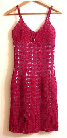 Red Cotton Crochet Dress, 15 Beautiful Free Crochet Dress Patterns for Women