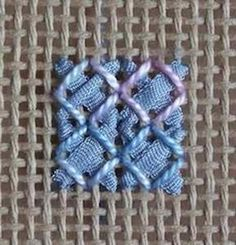 Rice stitch with ribbon