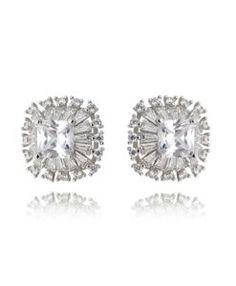 brinco prata com zirconias cristais semi joias para o dia a dia